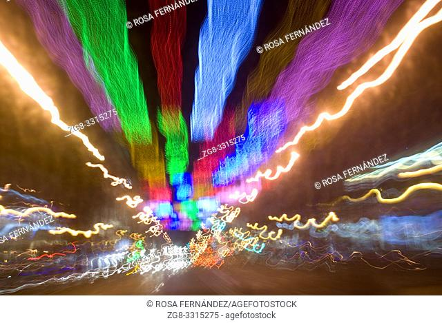 Nocturnal lights in the city of Madrid during Christmas, Spain