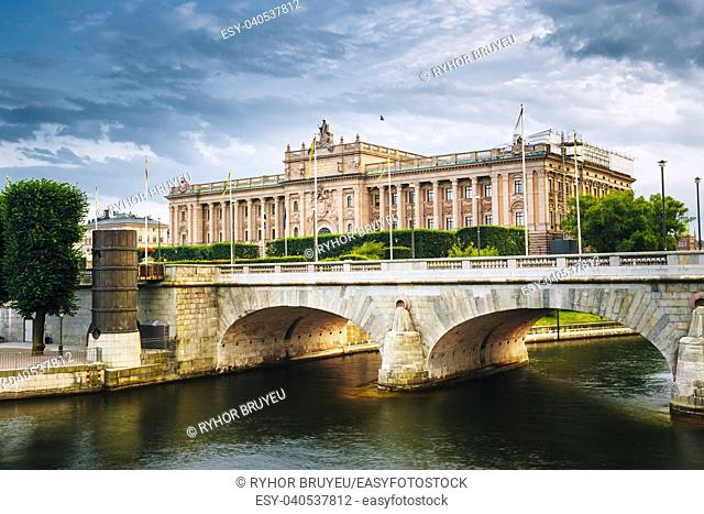 Riksdag Parliament Building and Norrbro Bridge In Stockholm, Sweden