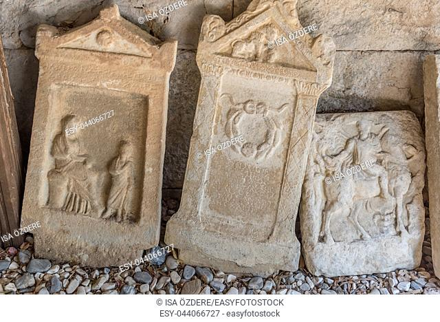 Detail of ancient Roman marble gravestones in Bodrum Castle, Turkey