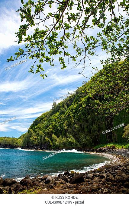 Rocky beach landscape and Indian Ocean, Reunion Island