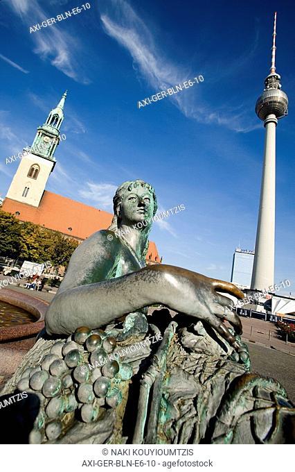 Marienkirche Church, fountain, and Fernsehturm Tower