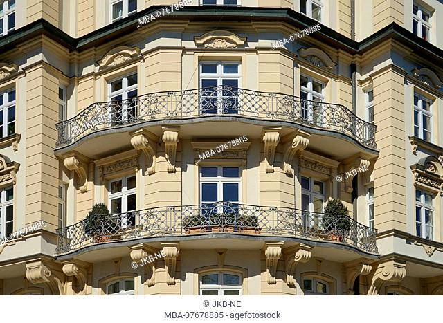 Germany, Bavaria, Munich, Haidhausen, old building, facade, balconies, bay, old building apartment