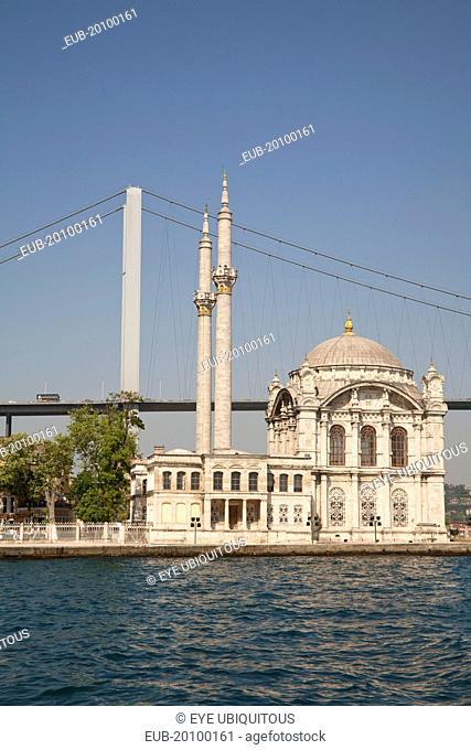 Ortakoy Mosque beside the Bosphorus Bridge