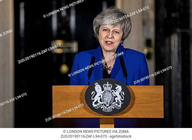 January 16, 2019 - London, London, UK - London, UK. Prime Minister Theresa May delivers a statement about Brexit outside 10 Downing Street