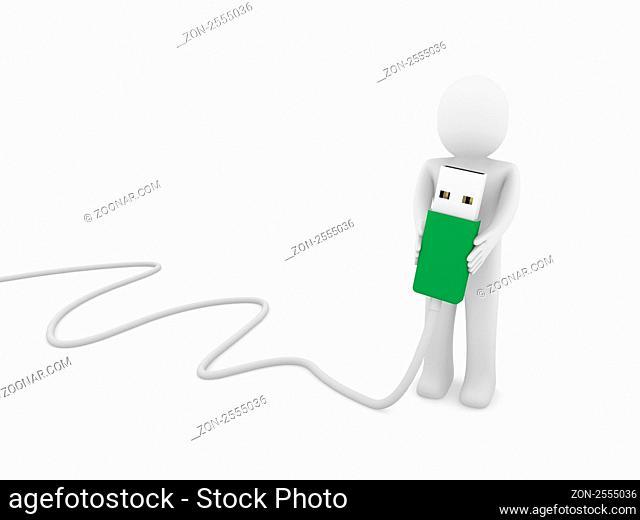 3d human man usb stick green plug cable