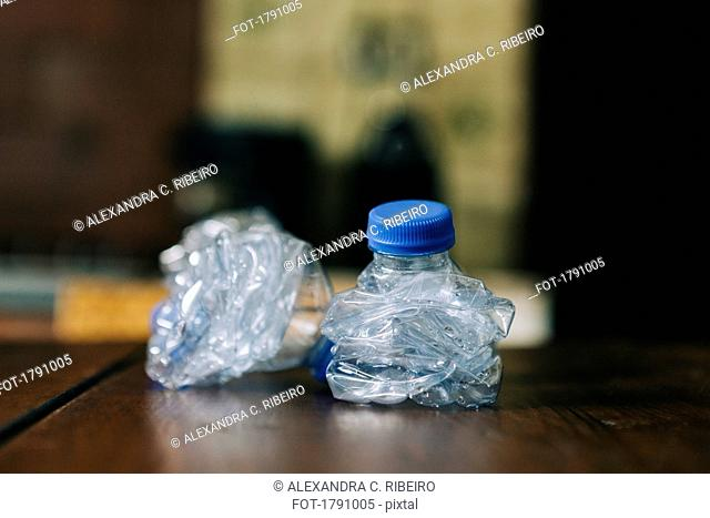 Crumpled, recycled plastic water bottles