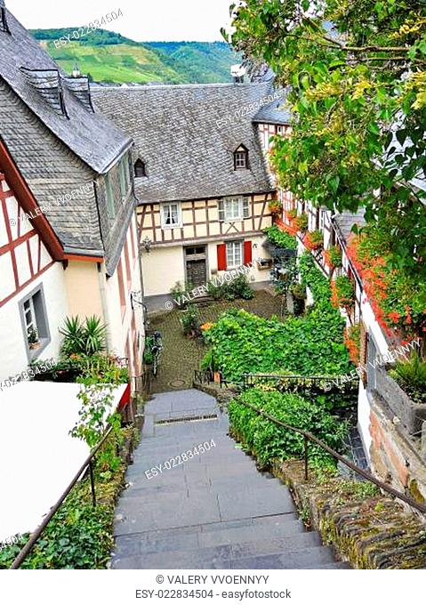 typical houses on narrow street in German village