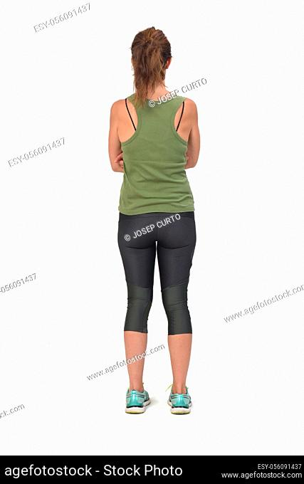 rear view of a woman with sportswear on white background,