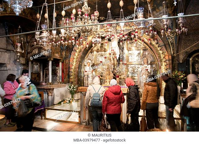 Old Town of Jerusalem, Church of the Holy Sepulchre, inside, Golgatha, crucifixion- and Stabat Mater Altar, Jerusalem, Israel