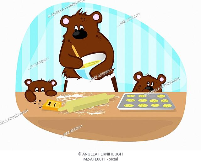 A mother bear baking cookies with her cubs