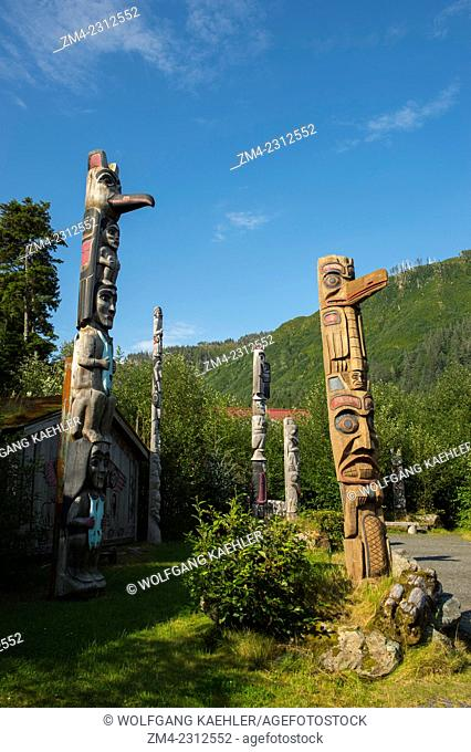 Totem poles at Potlatch Park in Ketchikan, Southeast Alaska, USA
