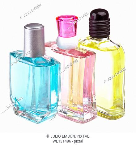 several perfume bottles of different flavors, high color