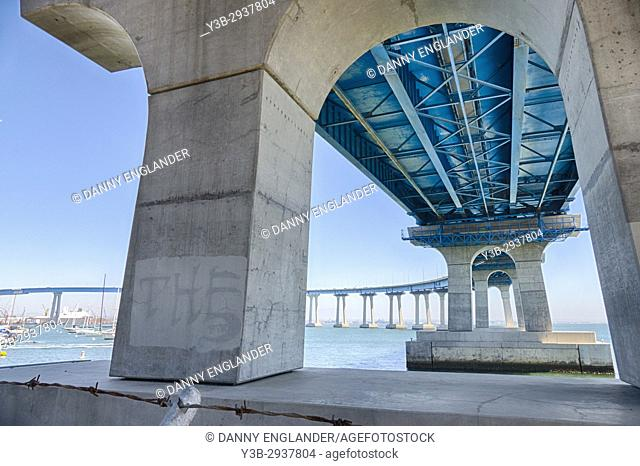 View under Coronado Bridge on San Diego Bay in Southern California
