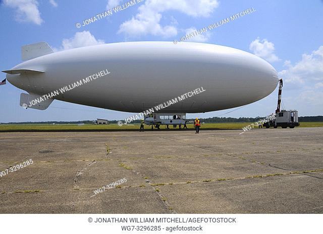 USA Mobile Alabama -- 12 Jul 2010 -- A U. S. Navy MZ-3A manned airship, Advanced Airship Flying Laboratory, derived from the commercial A-170 series blimp is in...