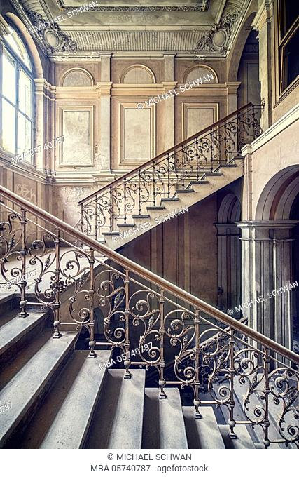 Stairwell in an abandoned villa