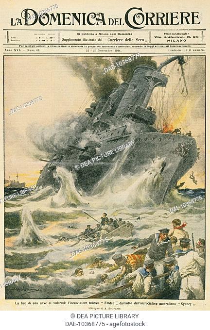 The German cruiser SMS Emden destroyed by the Australian Navy cruiser HMAS Sydney. Illustrator Achille Beltrame (1871-1945), from La Domenica del Corriere