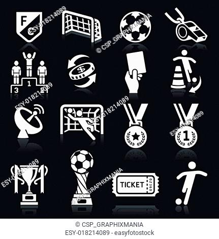 occer icons on black background
