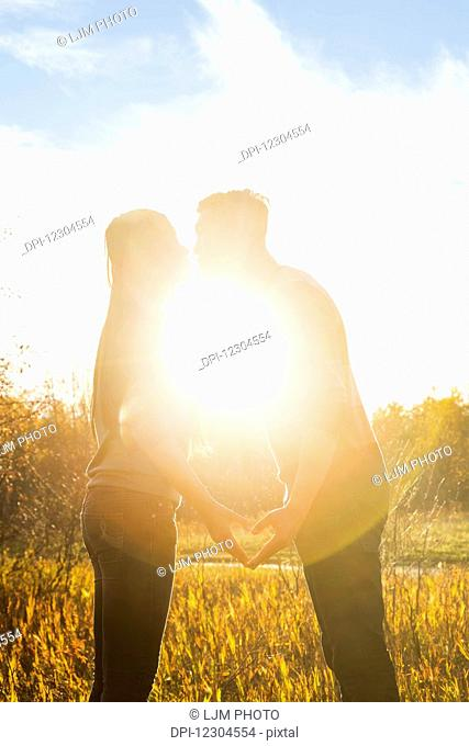 A young Asian couple kissing in a park in autumn and making a heart with their hands in the warmth of the setting sun; Edmonton, Alberta, Canada