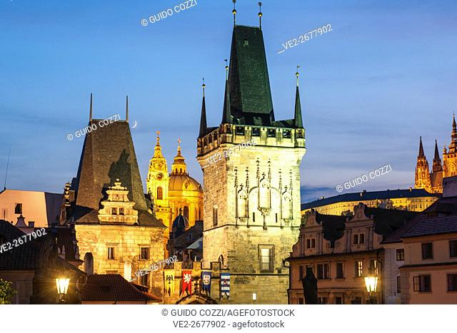 View of Mala Strana from Charles Bridge, Prague, Czech Republic
