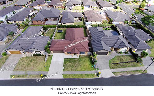 An aerial photo of a suburban neighbourhood. New Zealand, Pukekohe, Auckland
