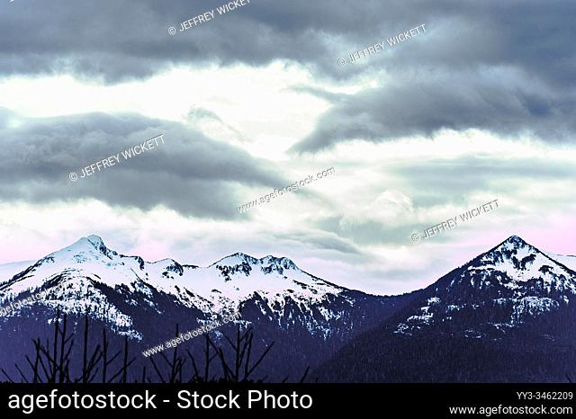 The Pyramids mountain range as seen from Crescent Harbor in Sitka, Alaska, USA
