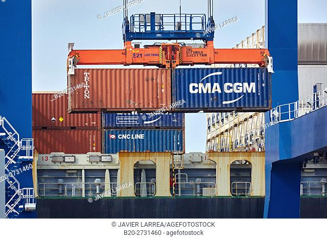 Container terminal, seaport, Cartagena de Indias, Bolivar, Colombia, South America