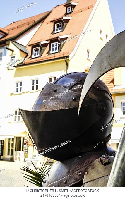 Medieval armor outside Gastof Krone hotel and restaurant in Fussen, Southern Germany