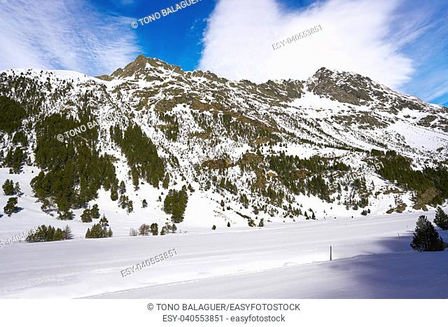Benasque Llanos del Hospital cross country ski area in Pyrenees of Huesca Spain