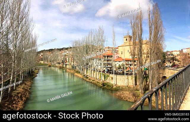 River Tajo and village, panoramic view. Trillo, Guadalajara province, Castilla La Mancha, Spain