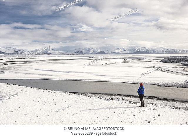 Gígjukvist glacier river and Skaftafellsfjöll mountains view in Skeiðarársandur (region of Austurland, Iceland)