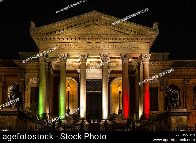 Façade of Massimo Theater (Teatro Massimo) illuminated at night. Portico supported by columns leading to main entrance. Palermo, Sicily, Italy. Europe