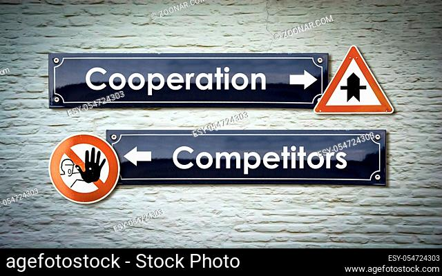 Street Sign the Direction Way to Cooperation versus Competitors