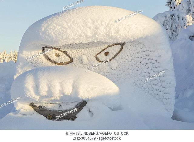 Funny face made in snow, Gällivare county, Swedeish Lapland, Sweden