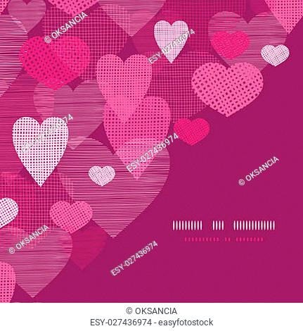 vector textured fabric hearts corner frame pattern background with hand drawn elements
