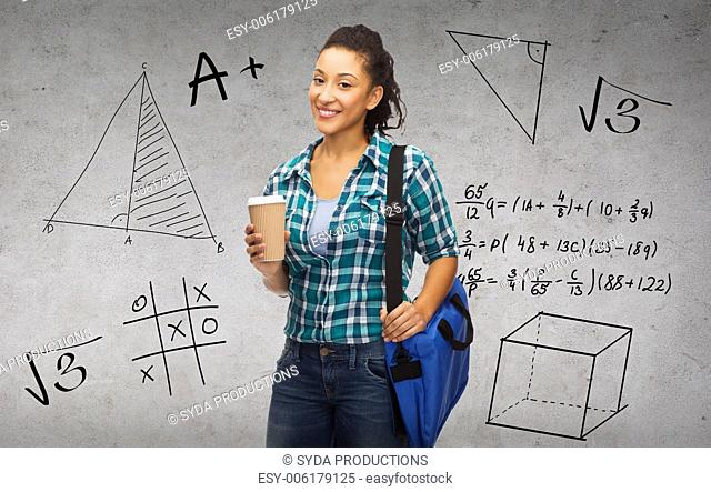 education, technology and people concept - smiling female african american student with bag and take away coffee cup