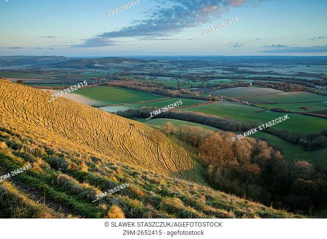 Spring sunrise in South Downs National Park near Eastbourne, East Sussex, England