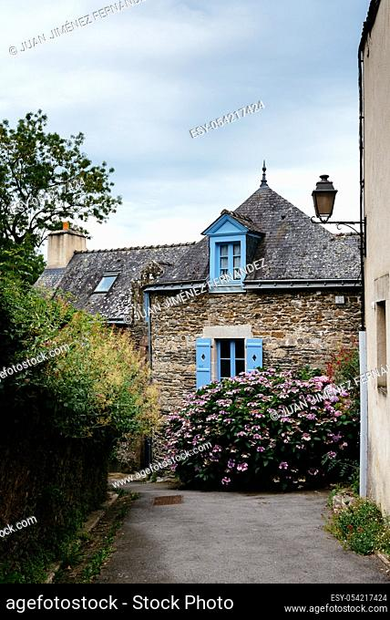 Picturesque street in the medieval village of Rochefort-en-Terre, France