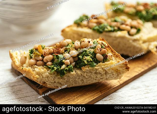 Home Made Vegan Kale Pesto with White Beans Bruschetta