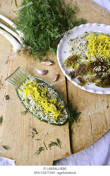 Sabzi polo (Persian herb rice with a butter-saffron rice crust)