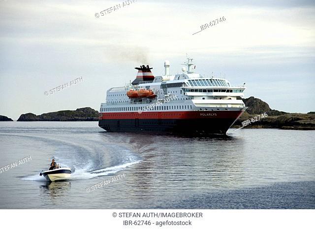 Hurtigruten ferry Polarlys in the port of Stamsund Lofoten Norway