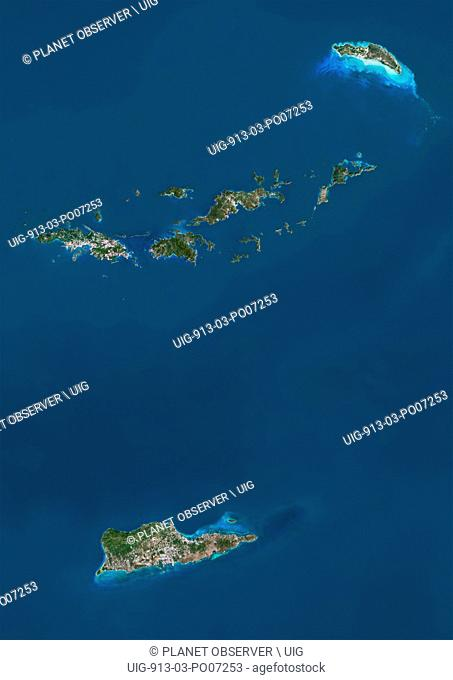Satellite view of British and US Virgin Islands. This image was compiled from data acquired by Landsat satellites