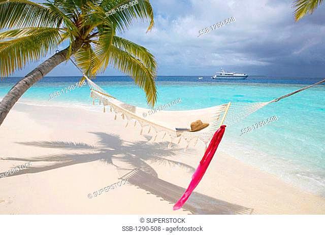 High angle view of a hat in a hammock, Maayafushi, Maldives