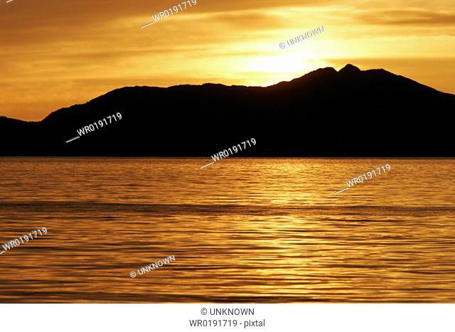 Sunset in scenic Southeast Alaska, USA
