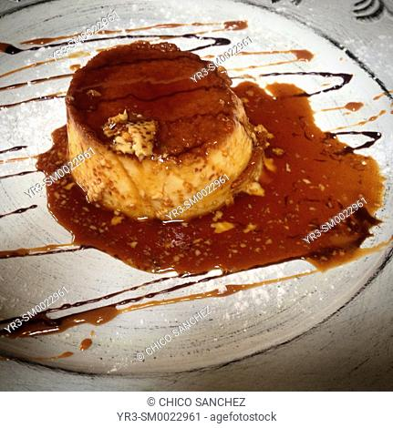 An egg custard with caramel in a restaurant in Mexico City, Mexico
