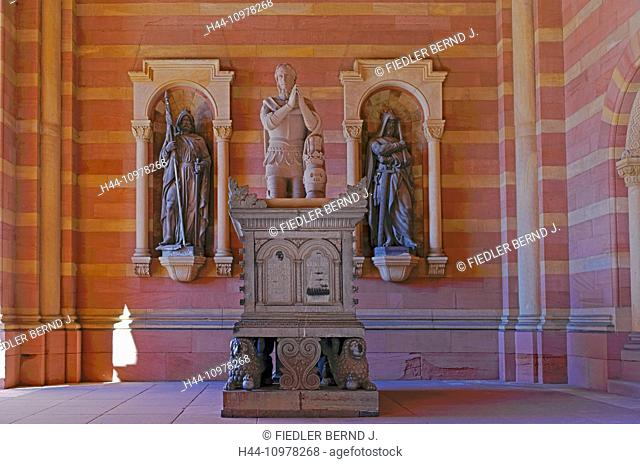 Europe, Germany, Europe, Rhineland-Palatinate, Speyer, cathedral place, Kaiserdom, anteroom, king Adolf von Nassau, monument, architecture, monument, building