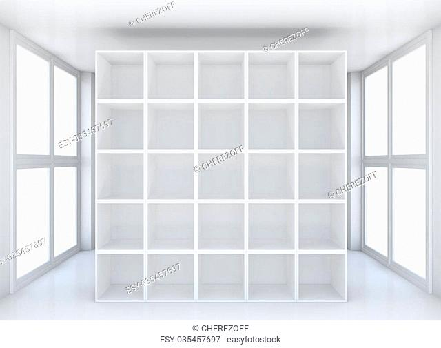 White clean hall or room with shelf. 3D illustration