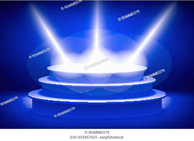 Empty stage lit with lights on blue background. On the podium shines a bright spotlight art