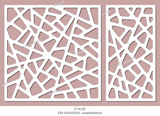 Set decorative card for cutting. Abstract lines pattern. Laser cut. Ratio 1:1, 1:2. Vector illustration