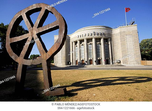 Modern sculpture in Rosa Luxemburg square, Berlin, Germany