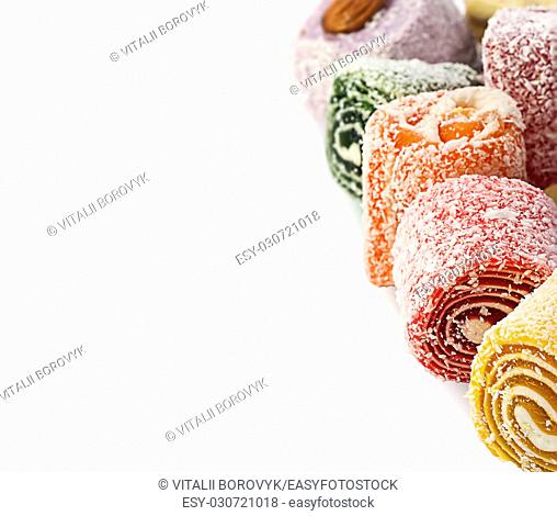 Pile of Turkish Delight in a vertical row isolated on white background